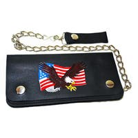 Hollywood Tag American Eagle Leather Bi-fold Chain Wallet