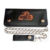 Hollywood Tag True Biker Black Leather Bi-fold Chain Wallet