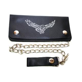 Hollywood Tag Soaring Eagle Black Leather Tri-fold Chain Wallet