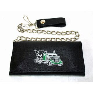 Hollywood Tag Truck Print Black Leathe Chain Wallet