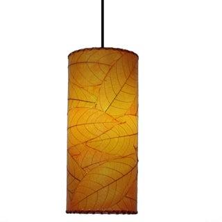Handmade Eangee Cocoa Leaf Cylinder Pendant (Philippines) (Option: Orange)