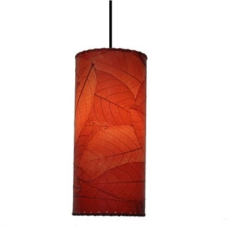 Eangee Red Cocoa Leaf Cylinder Pendant , Handmade in  Philippines