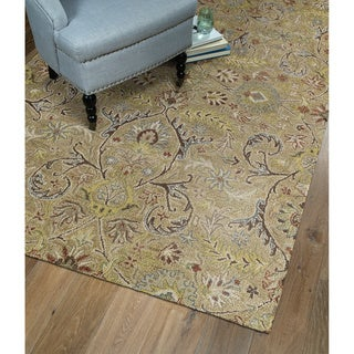 Christopher Kashan Gold Hand-tufted Rug (2'6 x 8'0)