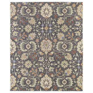 Christopher Kashan Charcoal Hand-tufted Rug (2'0 x 3'0)