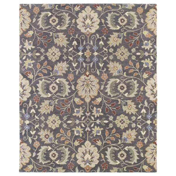 Christopher Kashan Charcoal Traditional Hand-tufted Wool Rug (9' x 12') - 9' x 12'
