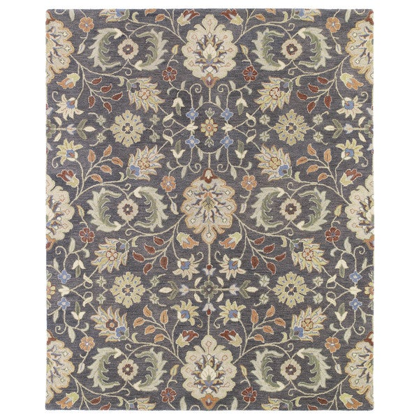 Christopher Kashan Charcoal Traditional Hand-tufted Wool Rug - 9' x 12'