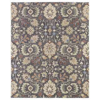 Christopher Kashan Charcoal Traditional Hand-tufted Wool Rug (9' x 12')