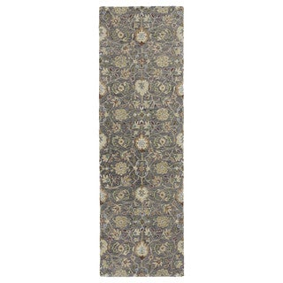 Christopher Kashan Charcoal Hand-tufted Rug (2'6 x 8'0)
