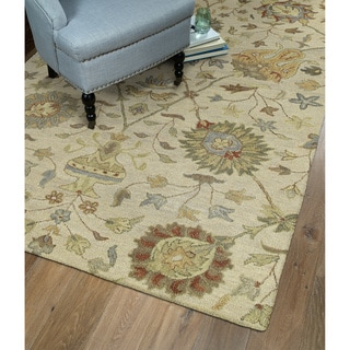 Christopher Kashan Sand Hand-tufted Rug (2'6 x 8'0)