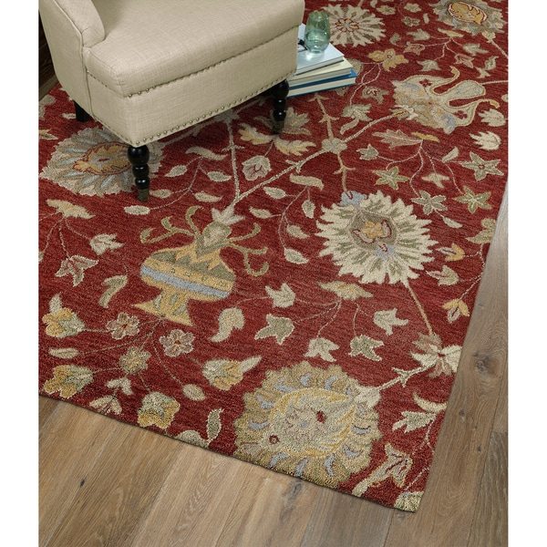 Christopher Kashan Red Hand-tufted Rug (10'0 x 14'0)