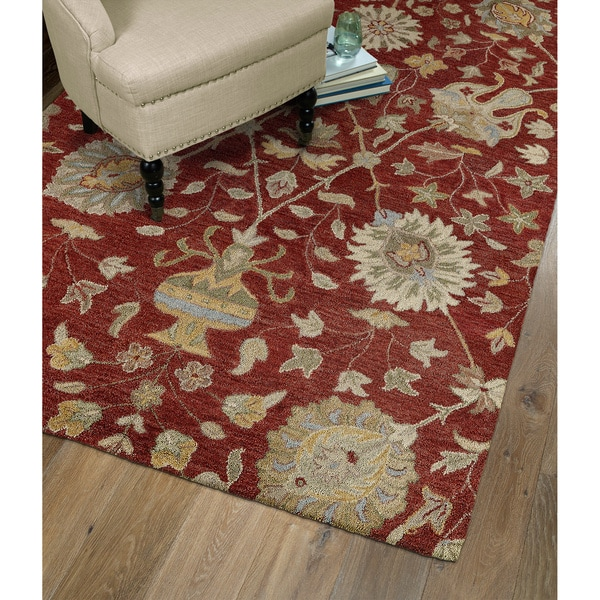 Christopher Kashan Red Hand-tufted Rug - 2' x 3'