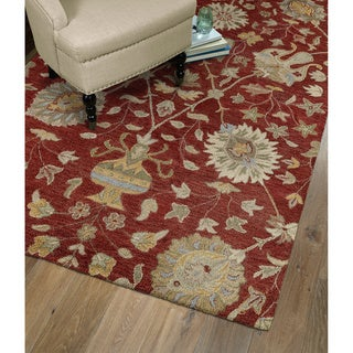 Christopher Kashan Red Hand-tufted Rug (2'0 x 3'0)
