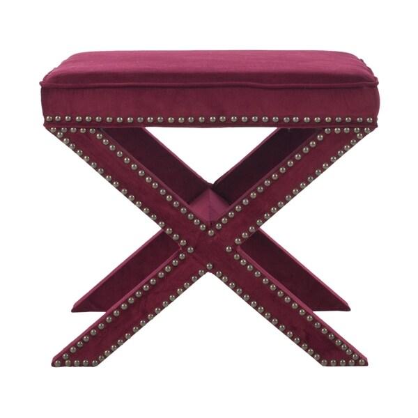 Safavieh Palmer X Bench Nailhead Red Velvet Ottoman 15668465 Shopping Great