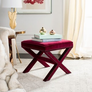 Link to Safavieh Palmer X-bench Nailhead Red Velvet Ottoman Similar Items in Living Room Furniture