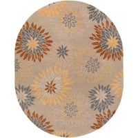 Hand-tufted Cahil Transitional Floral Pussywillow Beige Wool Area Rug - 6' x 9'