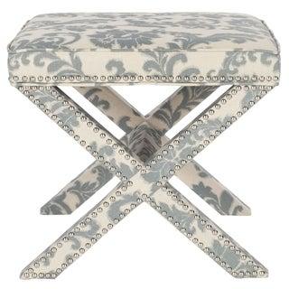 Safavieh Palmer X-bench Nailhead Slate/ Beige Ottoman