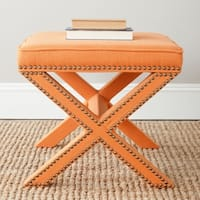Safavieh Palmer X-bench Nailhead Tangerine Orange Ottoman