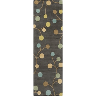 Hand-tufted Cain Transitional Floral Pewter Wool Runner Rug (2'6 x 8')
