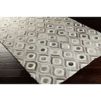 Hand-crafted Caedmon Contemporary Animal Winter White Leather Area Rug - 8' x 10'