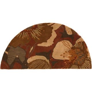 Hand-tufted Caerwyn Transitional Floral Sepia Wool Rug (2' x 4' Hearth)
