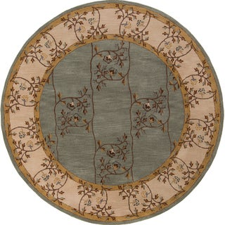 Hand-tufted Calhoun Traditional Floral Slate Grey Wool Rug (4' Round)