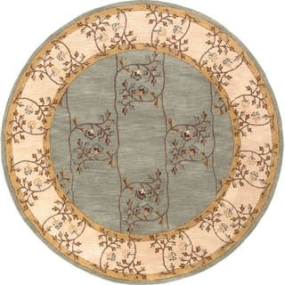 Hand-tufted Calhoun Traditional Floral Slate Grey Wool Area Rug - 4' Round