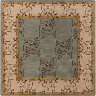 Hand-tufted Calhoun Traditional Floral Slate Grey Wool Rug (4' Square)