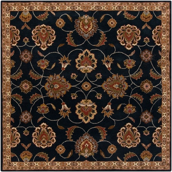 Hand-tufted Caliban Traditional Floral Ink Wool Area Rug - 4' Square
