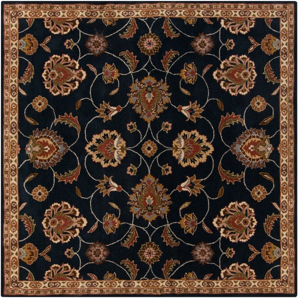 Hand-tufted Caliban Traditional Floral Ink Wool Area Rug (4' Square)