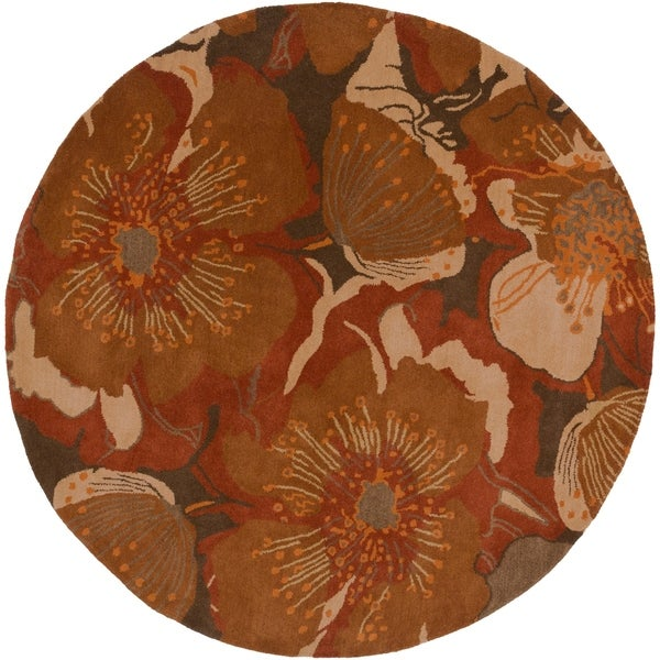Hand-tufted Caerwyn Sepia Wool Transitional Floral Area Rug - 6' Round