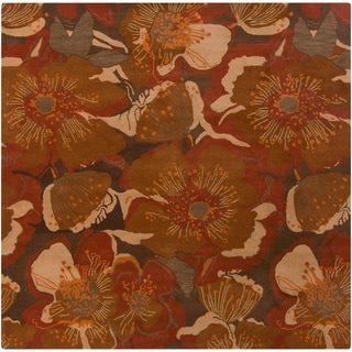Hand-tufted Caerwyn Sepia Wool Transitional Floral Area Rug - 6' Square