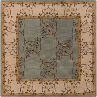 Hand-tufted Calhoun Slate Grey Wool Traditional Floral Rug (6' Square)
