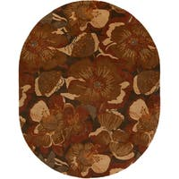 Hand-tufted Caerwyn Sepia Wool Transitional Floral Area Rug (8' x 10' Oval)