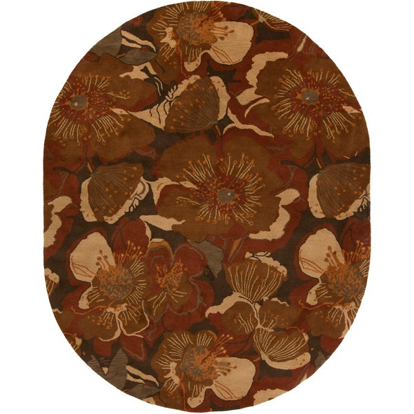 Hand-tufted Caerwyn Sepia Wool Transitional Floral Area Rug - 8' x 10' Oval