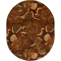 Hand-tufted Caerwyn Sepia Wool Transitional Floral Area Rug - 8' x 10'