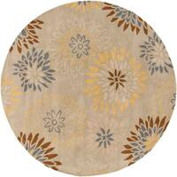 Hand-tufted Cahil Transitional Floral Wool Area Rug (8' Round)