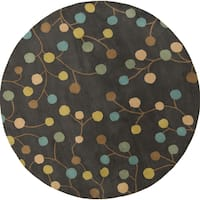 Hand-tufted Cain Transitional Floral Wool Area Rug (8' Round)