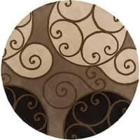 Porch & Den Farrar Hand-tufted Wool Abstract Area Rug - 8' Round