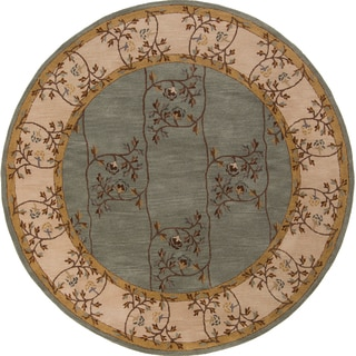 Hand-tufted Calhoun Traditional Floral Wool Slate Grey Rug (8' Round)