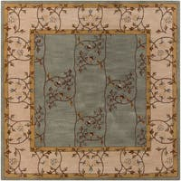 Hand-tufted Calhoun Traditional Floral Wool Slate Grey Area Rug (8' Square)