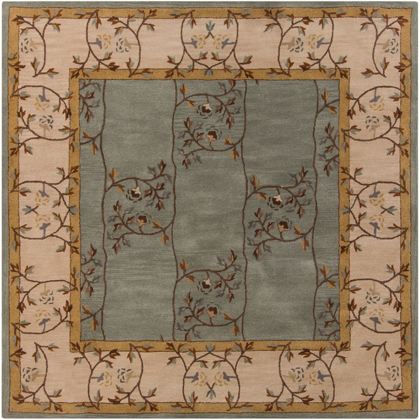 Hand-tufted Calhoun Traditional Floral Wool Slate Grey Rug (8' Square)