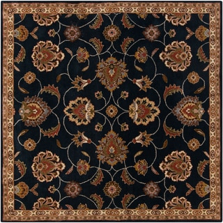 Hand-tufted Caliban Traditional Floral Wool Ink Rug (8' Square)