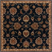 Hand-tufted Caliban Traditional Floral Wool Ink Area Rug - 8' x 8'