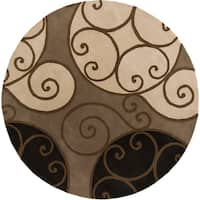 Hand-tufted Caithness Transitional Geometric Wool Brindle Area Rug (9'9 Round)