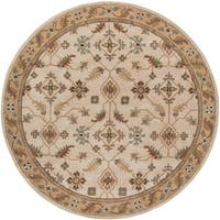 """Hand-tufted Caleb Classic Floral Wool Beige Area Rug - 9'9"""" Round"""