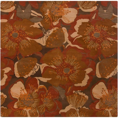 "Hand-tufted Caerwyn Transitional Floral Wool Area Rug - 9'9"" Square/Surplus"