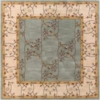Hand-tufted Calhoun Traditional Floral Wool Slate Grey Area Rug - 9'9 x 9'9