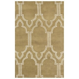 ZnZ Rug Gallery Hand-made Mustard Gold Wool Rug (5' x 8')