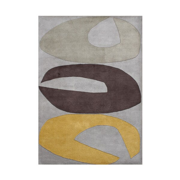 ZnZ Rug Gallery Handmade Grey Wool Rug - 8' x 10'