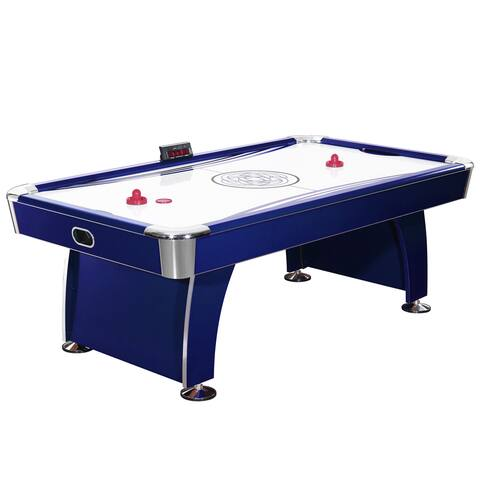 Phantom 7.5-Foot Air Hockey Game Table with Electronic Scoring, Dual Blowers and Automatic Return - Blue